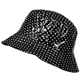 TOUTACOO, Waterproof Vinyl Bucket Rain Hat .Polka Dot - Black