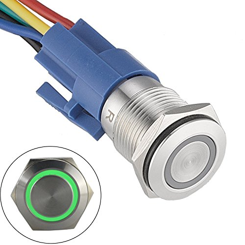 """APIELE 16mm Latching Push Button Switch 12VDC On Off Stainless Steel with LED Angel Eye Head for 0.63"""" Mounting Hole with Wire Socket Plug Self-Locking(Green)"""