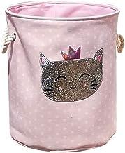 JHZCH Home Foldable Storage Bucket Swan Cat Cartoon Canvas Dirty Clothes Storage Basket Home Storage Bag (Color : Bronze)