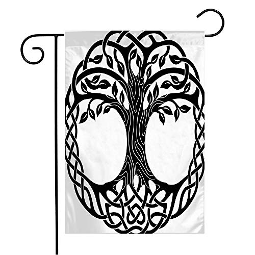 Anmbsk Garden Flag Welcome Flag Leaves Roots Floral Ornament Celtic Black Tree White Design Knot Modern Life Nature Textures Round 12x18 Inch Yard Flag Farmhouse Spring Summer Home House Lawn Decor