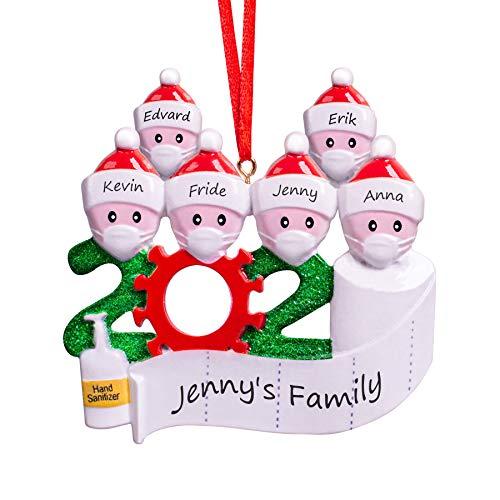 DAIZIKUAI Christmas Ornaments kit with Mask,Quarantine Survivor Family Customized Christmas Decorating Kit Creative Gift for Family Christmas Ornament-3 4 5 6 7 (Family 6)