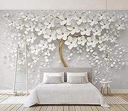 MUMUWU 3d Wallpaper Mural 3d White Flower 3d Embossed TV Background Wall TV Background Wall Wallpaper for Living Room (Col...