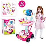 Abvenc Durable Kids Doctor Toy Set, Doctor Pretend Play Kit with Electric Simulation ECG Medical and...