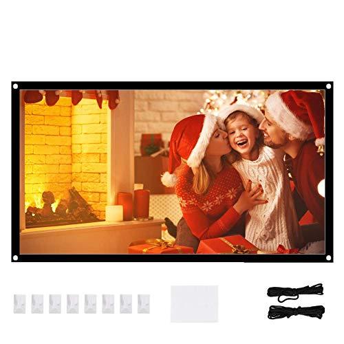 AMONIDA 16: 9 Pantalla de Proyector Antiarrugas Portátil Blanco Suave para Cine en Casa Soporte para Interiores y Exteriores Proyección a Doble Cara(72Inch)