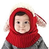 Baby Kids Warm Winter Hats Cute Thick Earflap Hood Hat Scarves Skull Caps Hooded Cowl Neck Warmer Beanie with Ears (Red)
