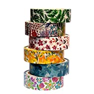 6 Rolls Floral Washi Masking Tape, Flower Washi Tape Set for Bullet Journal Scrapbook Planner Gift Wrapping Arts and DIY Crafts Holiday Decoration
