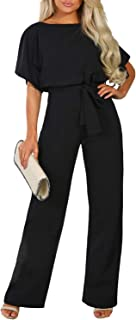 Women Casual Loose Short Sleeve Belted Wide Leg Pant Romper Jumpsuits S-XL