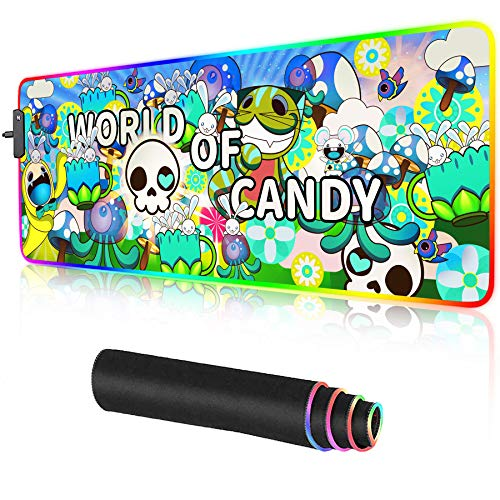 RGB Gaming Mouse Pad Large Anime LED Graffiti Mousepads Desk Mat for PC Laptop 31.5×11.8 inches (Green)