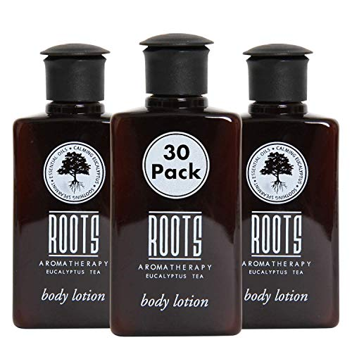 ROOTS AROMATHERAPY Body Lotion 1.5floz/45mL Travel Size Hotel Bulk Pack (Eucalyptus Tea fragrance) Toiletries for Bathroom, Guests, Hotels, Motels, and Lodging (30 pack)
