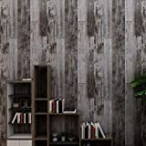 HAMIGAR Grey Wood Peel and Stick Wallpaper Self-Adhesive Paper Decorative Wall Covering Removable 17.71 x 118.1 Inches