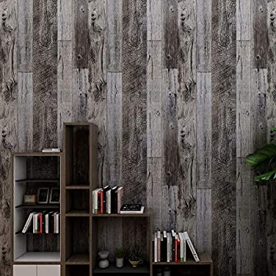 Amazon - 50% Off on  Grey Wood Peel and Stick Wallpaper Self-Adhesive Paper Decorative Wall Covering Removable