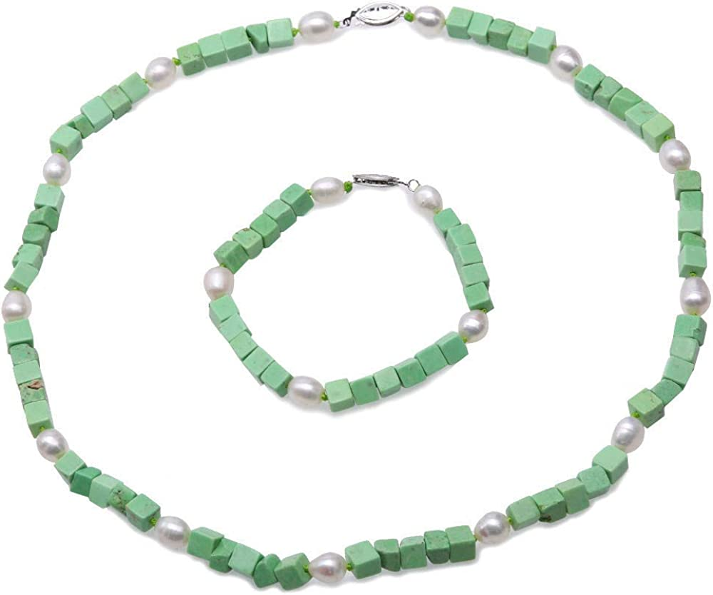 JYXJEWELRY Turquoise Necklace Set for Women 6mm Green Square Turquoise and White Freshwater Pearl Necklace and Bracelet Jewelry Set