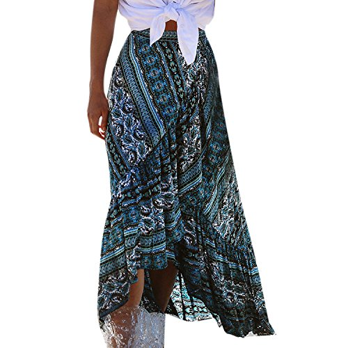 Petalum Damen Sommerrock Lang Blumenmuster Maxirock Boho Asymmetrisch Strandrock Wickelrock Leicht Bikini Cover Up Verstellbare Taille Lang Rock