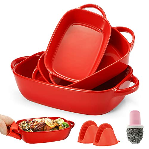 Bakeware Set,Casserole Dish,Ceramic Bakeware Set 3 PCS,Lasagna Pans,Baking Dishes,Baking Pans with 1 Cleaning Brush and 2 Silicone Anti-Hot Clips,11 x 7 x 2.7 Inches(Red)