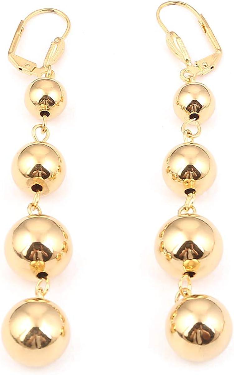 Fashion Shiny Gold Color Round Ball Earrings Ethiopian Women Ball Earrings Jewelry