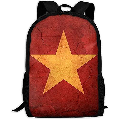 Rucksack,Vietnam Flagge Auf Gebrochenen Wand Erwachsene Reiserucksack Schule Casual Daypack Oxford Outdoor Laptop Tasche College Computer Umhängetaschen