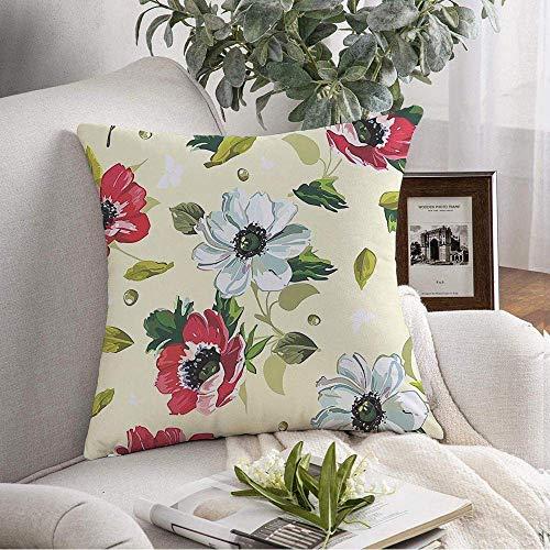VJSDIUD Fundas de Almohada Estuche Arreglo Acogedor Planta sin Costuras Color Flores Patrón de Pintura en la Naturaleza Texturas de Verano conmovedoras Individuales Throw Pillow Co