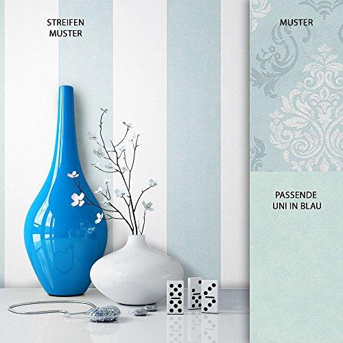 NEWROOM Barocktapete Tapete Blau Streifen Linien Modern Vliestapete Weiß Vlies moderne Design Optik Tapete Landhaus inkl. Tapezier Ratgeber