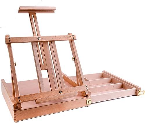 SHWSM Tablette de Peinture à l'huile en Bois Massif avec tiroirs, Pratique pour Le Stockage et Le Transport, Peut être utilisée pour Dessiner et Utiliser 43  32  25cm chevalet