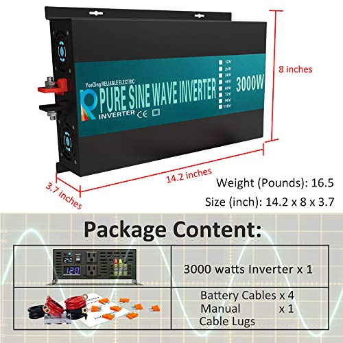 WZRELB 3000watt Pure Sine Wave Inverter 24V DC to 120V AC 60HZ with LED Display Car Inverter Generator (RBP300024B1)