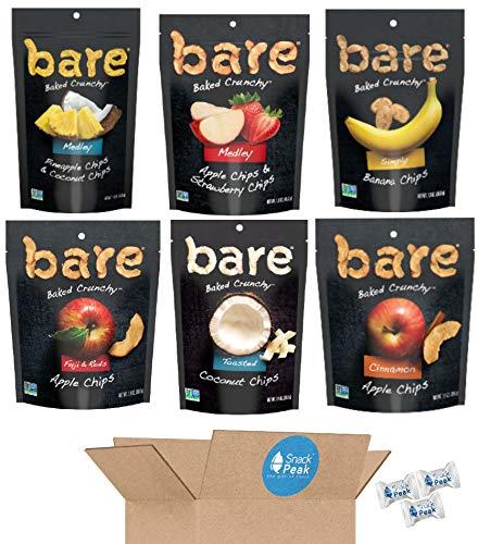 Bare Baked Crunchy Fruit Chips Snack Peak Variety Gift Box – Coconut, Apple, Cinnamon Apple, Banana, Apple Strawberry Medley, and Pineapple Coconut Medley