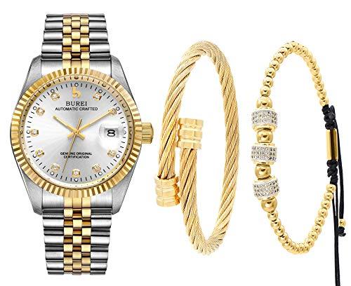 BUREI Herren Uhr Automatikuhren Datum Anzeige Edelstahl Band und Armband Set, Verstellbarer Armreif für Herren