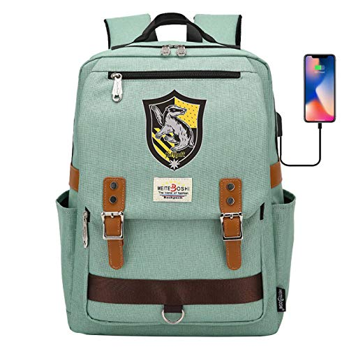 NYLY Mochila Escolar para portátil de Harry Potter, Hogwarts Hufflepuff College Backpack, con Puerto de Carga USB, Mochila de Viaje de Ocio Bolsa de Libros 42 * 30 * 16CM Verde