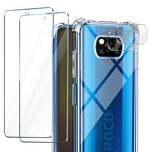 AROYI Funda Compatible con Xiaomi Poco X3 NFC, 2 Pack Cristal Templado y 2 Pack Protector de Lente de cámara para Poco X3 NFC