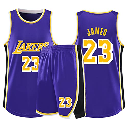 HAZYJT Camiseta de Baloncesto NBA Legend para Hombre - L.A. Lakers # 23 Lebron James Uniforme de Baloncesto Camisa Bordada Chaleco Shorts Set Swingman Jersey, Purple-L (160~165cm)