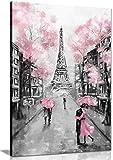 Impression sur toile motif Paris - rose, noir et blanc , Noir , A2 61x41 cm (24x16in)