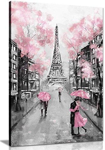 Leinwandbild, Motiv Paris, Pink/Schwarz/Weiß, Schwarz, A2 61x41 cm (24x16in)