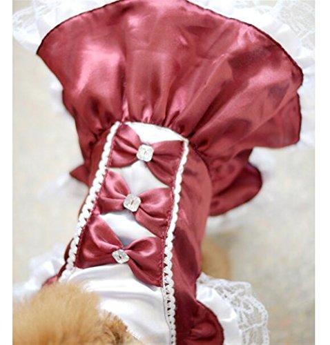 Weekendy Umweltfreundliche Materialien Haustierzubehör Katze Hund Bogen Spitze Brautkleid Dunkelrot M