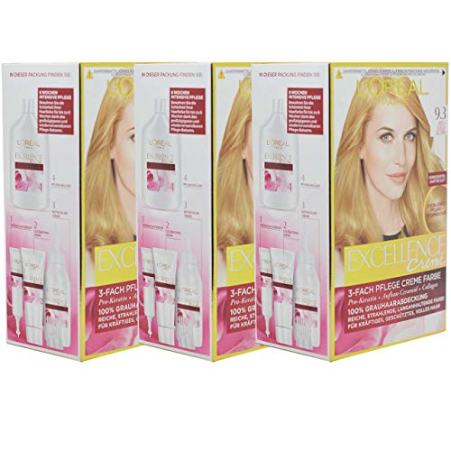 3x L'Oreal Haarfarbe Excellence Cream - (3x192ml) (9.3 - Hellgold Blond)