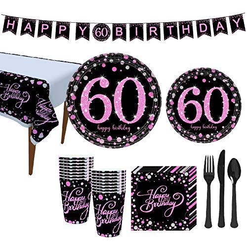 VAINECHAY 60 Decoración Fiesta cumpleaños ,Vajilla Desechable Banner Platos Vasos Tenedores Cucharas...