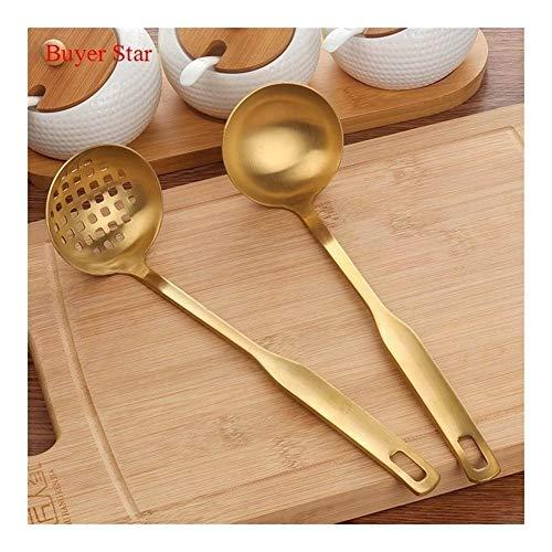 2 stuks/set Roestvrij staal Koken Tool Matt Poolse lange steel Pollepel Skimmer Golden Kitchen set accessoires for Hot Pot (Color : Small Gold Set)