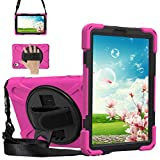 Sfulatdc Compatible with Lenovo Tab M8 FHD Case,Shockproof Heavy Duty Rugged Full Body Cover with Strap and Kickstand for M8 8 Inch 2020 Pink