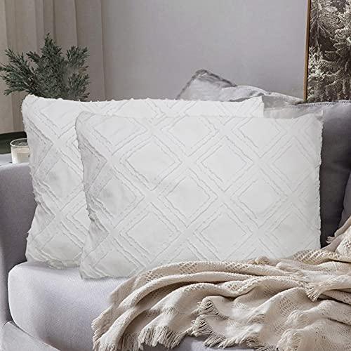 AOMIAO Set de 2 Funda de Almohada para sofá, Dormitorio, Fundas de Cojines Coche, Color Blanco Puro, Funda de Almohada con diseño de borlas, Fundas de Cojines de Calidad (Diamante, 75 * 50cm)