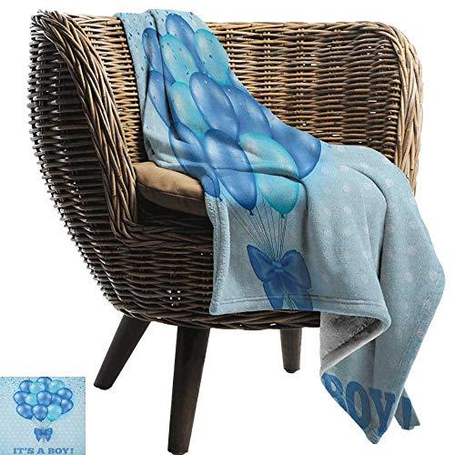 ZSUO pluche gooien deken Geslacht openbaring, ballonnen op de nostalgische polka stippen achtergrond geboorte viering thema Sky Blue Cozy hypoallergeen gemakkelijk te dragen deken