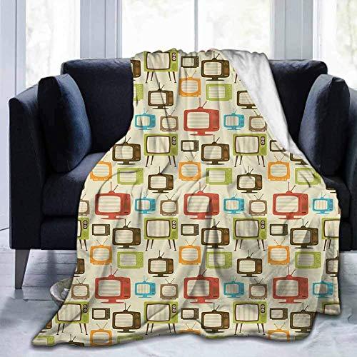 Leisure-Time Super Soft Bed Blanket Throw Blankets Vintage, Old Televisions Pattern en Colores Retro Antena Electrónica Entretenimiento Nostálgico, Multicolor