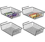 SKYFUN (LABEL) Multipurpose Steel Storage Organizer Bin Wall Cupboard Shelf Basket- for Kitchen Cabinets, Pantry, Bathroom, Laundry Room, Closets, Garage