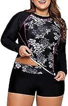 LALAGEN Women's Long Sleeve Sun Protection Rashguard Swimwear Athletic Tankini Black XXL