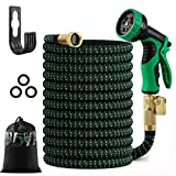 50 feet Expandable Garden Hose, Water Hose, with Triple Layered Latex Core, with 3/4' Solid Fittings, Hose Splitter/ Hose Quick Connector/Free 9 Function Spray Nozzle, for House/ Car/ Floor/ Yard Wash