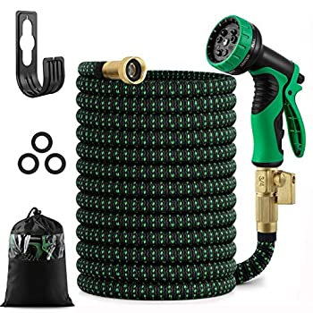 50 feet Expandable Garden Hose Water Hose with Triple Layered Latex Core with 3/4  Solid Fittings Hose Splitter/ Hose Quick Connector/Free 9 Function Spray Nozzle for House/ Car/ Floor/ Yard Wash