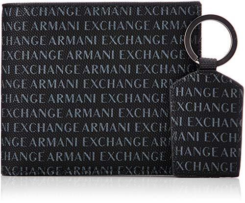 Armani Exchange Wallet And Keyring Set - Portafogli Uomo, Nero (Black), 10.5x3x19 cm (B x H T)