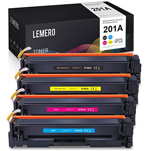 4 LEMERO Compatible Toner voor HP 201A 201X CF400A CF401A CF402A CF403A CF400X voor HP Color Laserjet Pro M277DW M277N M252DW M252N M274N M250 M252DN M270 MFP M274N M274DN