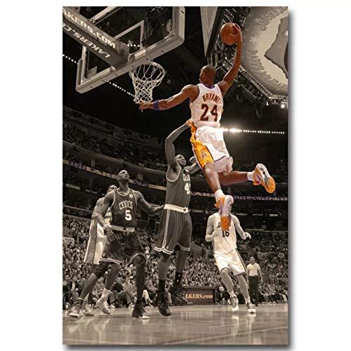 qianyuhe Poster und Drucke Kobe Bryant Dunks Basketball Stoff Kunst Poster Wandkunst Bilder Wohnkultur 60x90cm (24x36inch