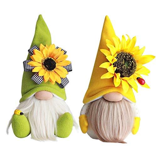 Frühling Sonnenblume Biene Gnom Wichtel Figuren Sommer für Bienenfest Gesichtslose Puppe Sonnenblume Deko Gelb Festliche Geschenke Mollig Plüschpuppen Geschenke für Kinder(2pcs) (Multicolor)