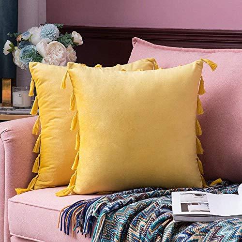 2 piezas de fundas de cojín de terciopelo con borlas, funda de almohada cuadrada decorativa con bordado indio bohemio, fundas de almohada para sofá, con cremallera invisible-24 'x 24'_Limon amarillo