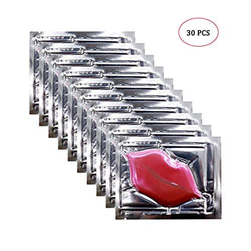 Jakuva 30 Pack Pink Collagen Crystal Lip Masks Lip Plumper Masks Gel Patch Lip Masks Moisturizing Lip, Remove Dead Skin Anti Chapped & Anti-Aging (Pink)