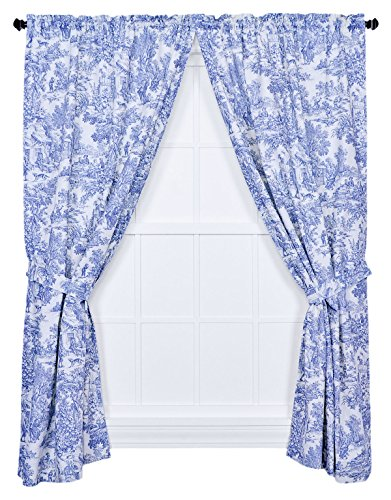 Ellis Curtain Victoria Park Toile 68-Inch-by-84 Inch Tailored Panel Pair with Tiebacks, Blue